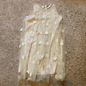 Gracia Chiffon Polka Dot Dress in Cream Color